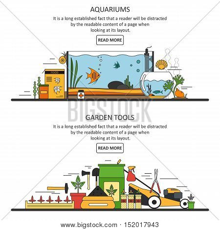 Aquarium and garden tools banners in flat style. Vector design elements and icons. For posters, cards, brochures, books, invitations, website designs.