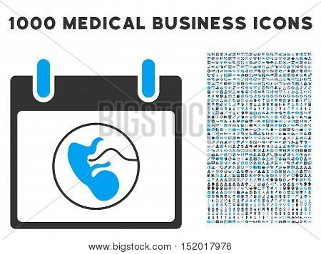 Blue And Gray Embryo Calendar Day vector icon with 1000 medical business pictograms. Set style is flat bicolor symbols, blue and gray colors, white background.