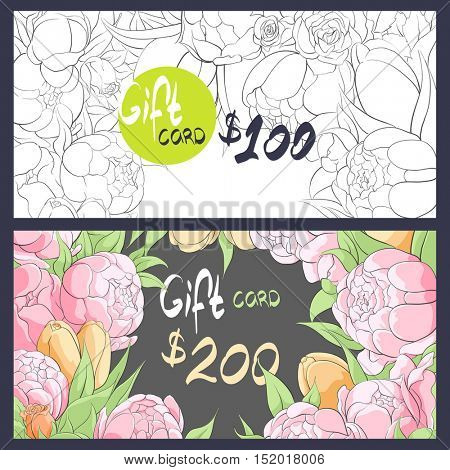 Black-white and color delicate flowers for a gift card
