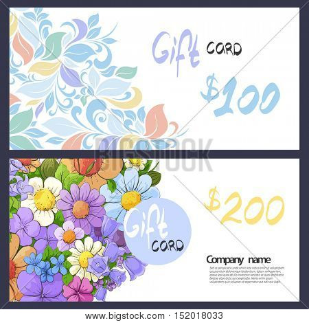 Business card with delicate patterns and flowers