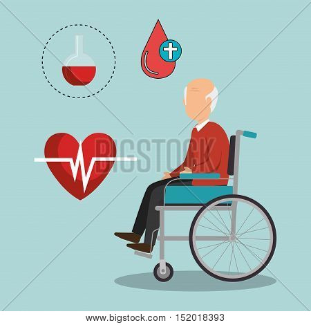 avatar old man on wheelchair with medicine icon set over blue background. vector illustration