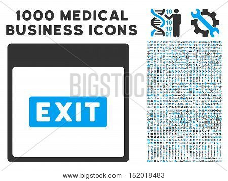 Blue And Gray Exit Caption Calendar Page vector icon with 1000 medical business pictograms. Set style is flat bicolor symbols, blue and gray colors, white background.