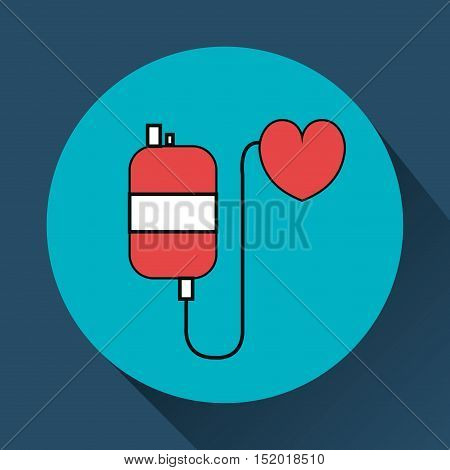 medical blood bag and heart over blue circle and background. vector illustration