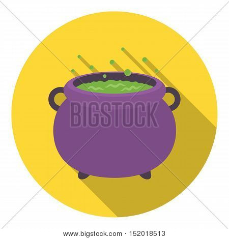 Witch's cauldron icon in flat style isolated on white background. Black and white magic symbol vector illustration.