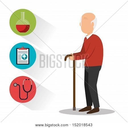 avatar old man with cane and medicine icon set over white background. vector illustration