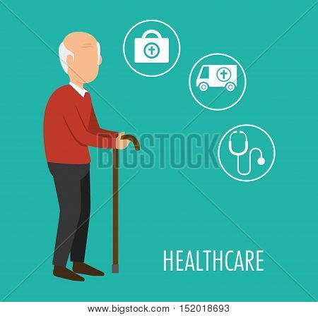 avatar old man with cane and medicine icon set over blue background. healthcare design. vector illustration