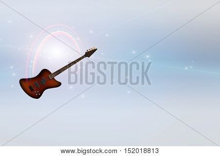 Bass Guitar and Rainbow in Serene Light  3D Render