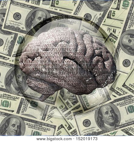 Binary Brain and US Currency  3D Render