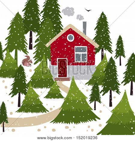 Vector illustration about winter time. Winter snow covered forest and rural house with a chimney. Wooden pointer with a squirrel on the path.