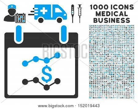 Blue And Gray Financial Charts Calendar Day vector icon with 1000 medical business pictograms. Set style is flat bicolor symbols, blue and gray colors, white background.