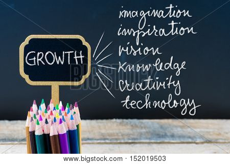 Business Acronym Growth Written With Chalk On Wooden Mini Blackboard Labels