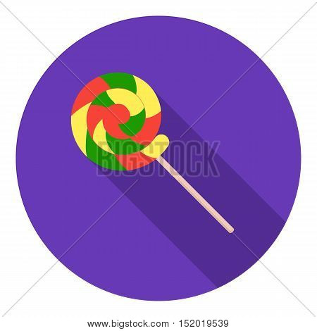 Lollipop icon in flat style isolated on white background. Circus symbol vector illustration.