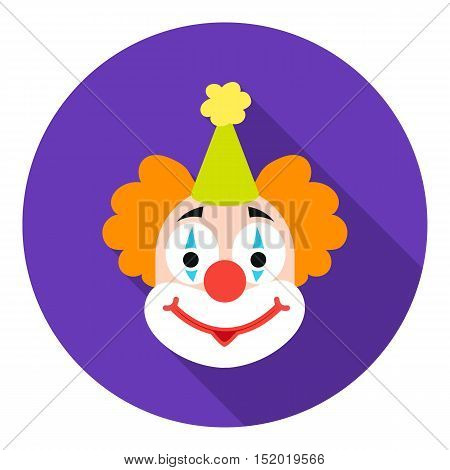 Clown icon in flat style isolated on white background. Circus symbol vector illustration.