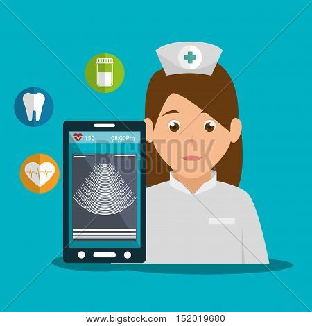 avatar woman nurse and smartphone device with radiography on screen and medice icons. vector illustration