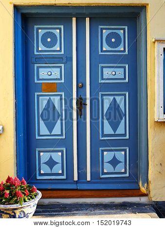 Traditional colorful craft vintage wooden front door Denmark