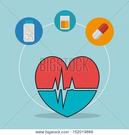 cardio pulse heart and medical icon set over blue background. vector illustration