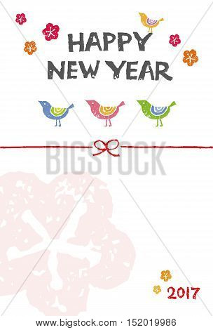 New Year card with colorful birds and plum flowers