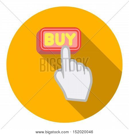 Buying click icon in flat style isolated on white background. E-commerce symbol vector illustration.