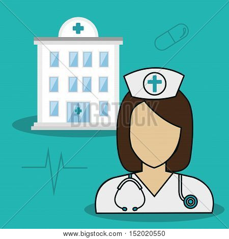 avatar woman nurse and medical hospital center building with medicine icons over blue background. vector illiustration