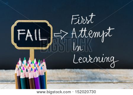 Business Acronym Fail First Attempt In Learning Written With Chalk On Wooden Mini Blackboard Labels