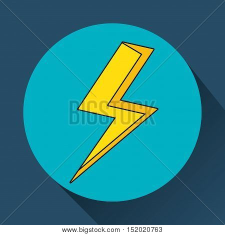 yellow bolt icon over blue circle and background. vector illustration