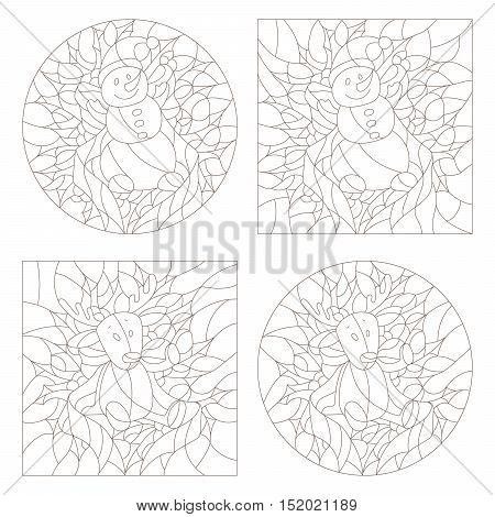 Set contour illustrations of the stained glass Windows on the theme of new year and Christmasplush moose and snowman on background of Holly and ribbons