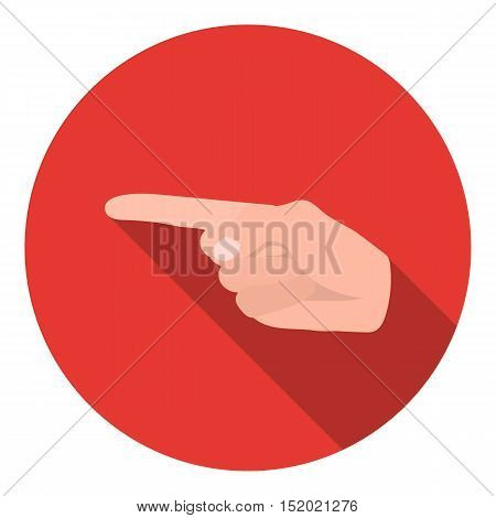 Index finger icon in flat style isolated on white background. Hand gestures symbol vector illustration.