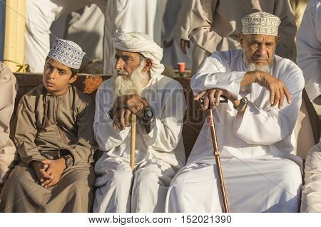 Nizwa Oman October 13th 2016: Men at Nizwa goatp aucion