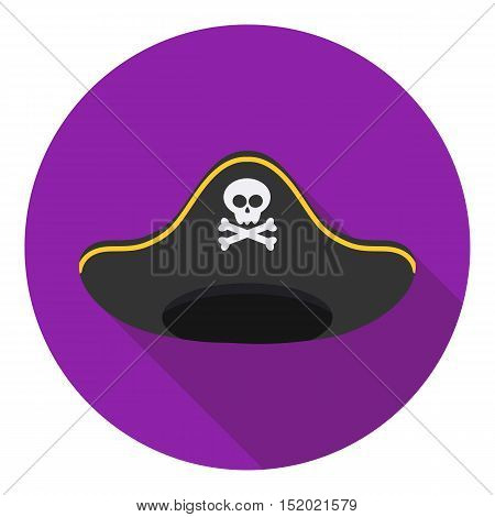 Pirate hat icon in flat style isolated on white background. Hats symbol vector illustration.