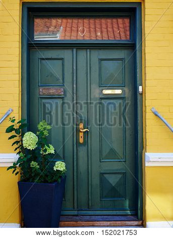 Traditional colorful craft vintage wooden green front door Denmark