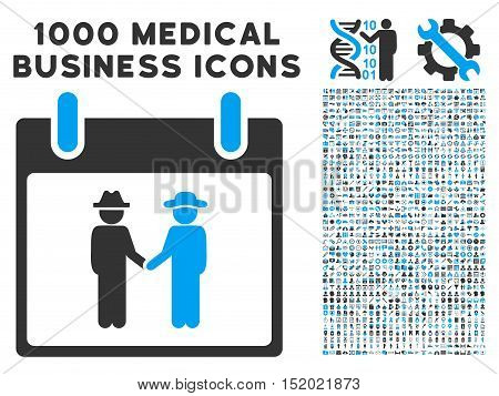 Blue And Gray Gemtlemen Handshake Calendar Day vector icon with 1000 medical business pictograms. Set style is flat bicolor symbols, blue and gray colors, white background.