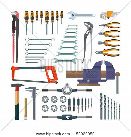 Vector set of working tools in flat style. Design elements and icons isolated on white background. Construction and home repair. Tap holder and screw threading die.