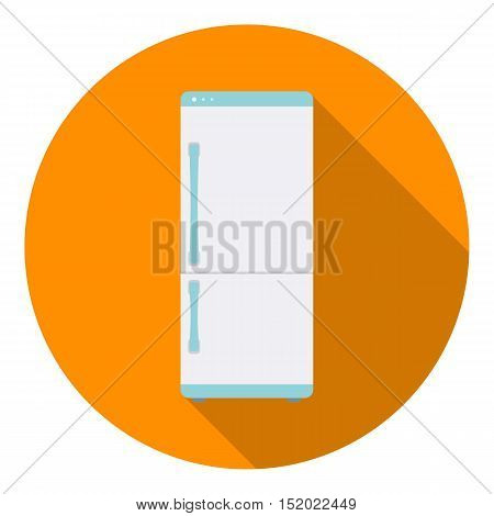 Refrigerator icon in flat style isolated on white background. Household appliance symbol vector illustration.