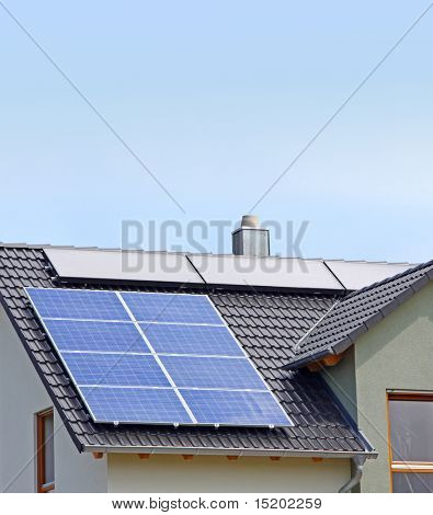 A Photograph of a solar panel on the roof