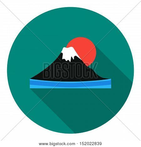 Mount Fuji icon in flat style isolated on white background. Japan symbol vector illustration.