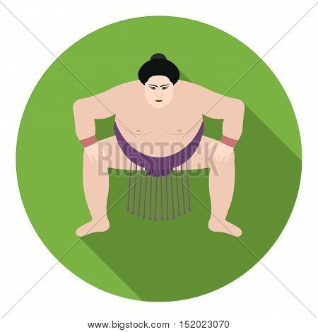 Sumo wrestler icon in flat style isolated on white background. Japan symbol vector illustration.