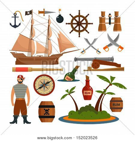 Vector set of sea pirates objects, icons and design elements in flat style. Pirate ship, weapons, island.