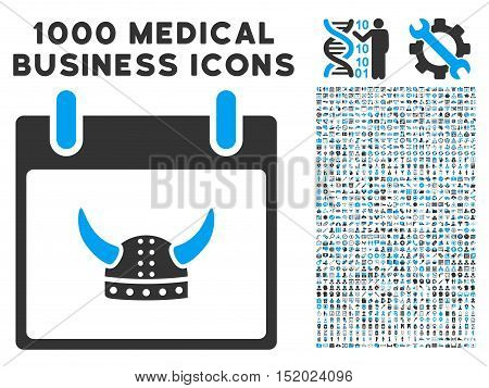 Blue And Gray Horned Helmet Calendar Day vector icon with 1000 medical business pictograms. Set style is flat bicolor symbols, blue and gray colors, white background.