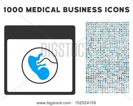 Blue And Gray Human Embryo Calendar Page vector icon with 1000 medical business pictograms. Set style is flat bicolor symbols, blue and gray colors, white background.