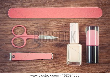 Vintage Photo, Cosmetics And Accessories For Manicure Or Pedicure, Concept Of Nail Care