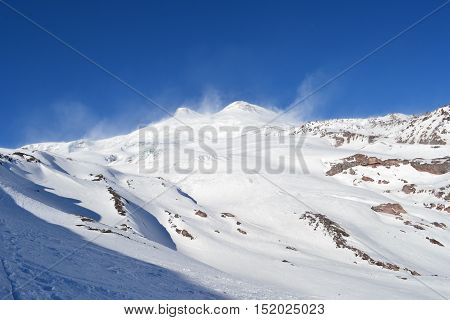 Beautiful view on the mountains. Nice winter mountains landscape. Snow lies on the surface of the mountains. caucasian mountains. Elbrus mountain.