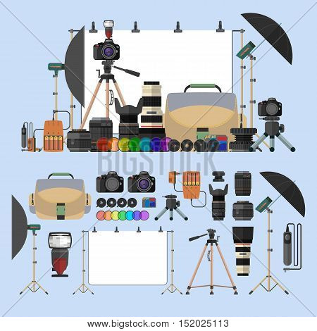 Vector set of photography isolated objects. Photo equipment design elements and icons in flat style. Digital cameras and gadgets for professional studio photography.