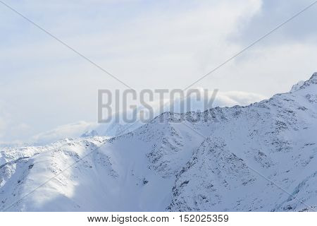 Beautiful view on the mountains. Nice winter mountains landscape. Snow lies on the surface of the mountains. caucasian mountains.