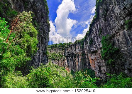 Wulong Karst limestone rock formations in Longshui Gorge Difeng, an important constituent part of the Wulong Karst World Natural Heritage. China
