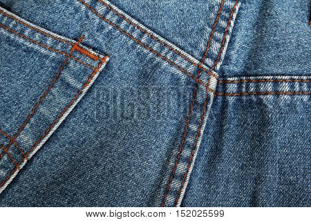 Close up jeans pocket with yellow seam