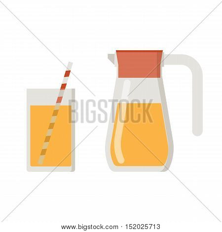 Orange juice jug and straw glass. Jar and mug filled with fruit lemonade drink.