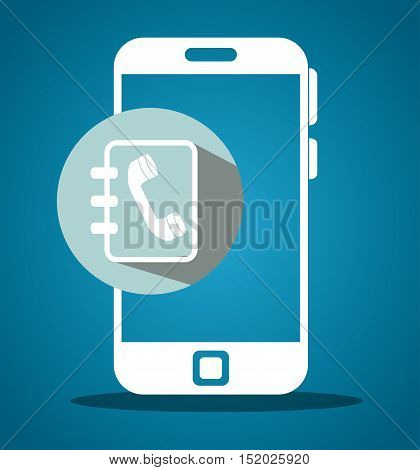 smartphone portable device with directory book icon over gray circle and blue background. vector illustration