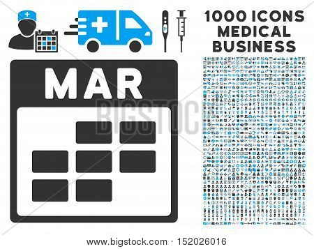 Blue And Gray March Calendar Grid vector icon with 1000 medical business pictograms. Set style is flat bicolor symbols, blue and gray colors, white background.