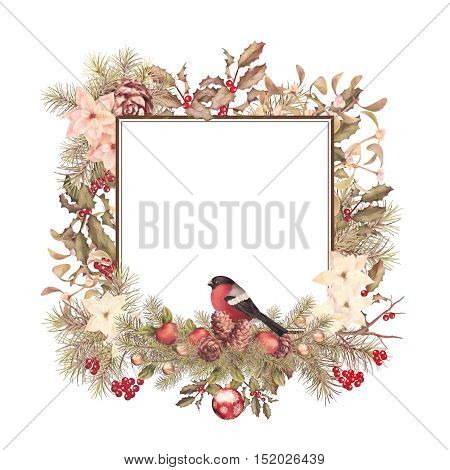 Christmas vintage watercolor decorative frame. Holiday greeting card. Bird bullfinch poinsettia flowers with Rowan and Holly branch