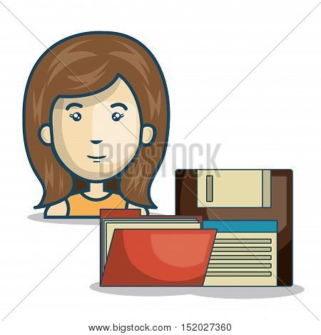 avatar woman smiling with red folder and diskette icon over white background. vector illustration